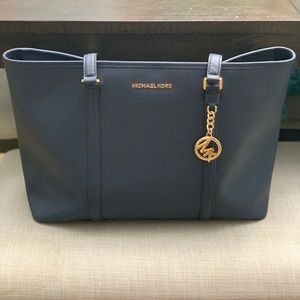Navy blue with gold accents MK large Tote